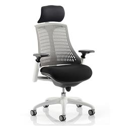 Flex Task Operator Chair White Frame Black Fabric Seat With Grey Back With Arms With Headrest Ref KC0093