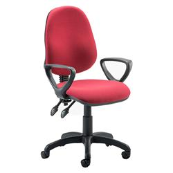 Eclipse II lever Task Operator Chair Wine Fabric With Loop Arms Ref KC0026