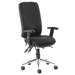 Chiro Task Operators Chair Black Fabric With Height Adjustable And Folding Arms High Back Ref KC0001