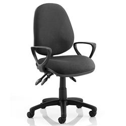 Luna III Lever Task Operator Chair Black Fabric With Loop Arms Ref KC0136