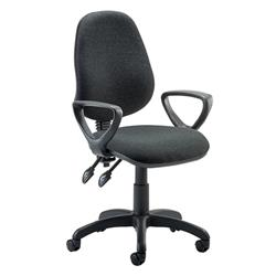 Eclipse II Lever Task Operator Chair Charcoal Fabric With Loop Arms Ref KC0024