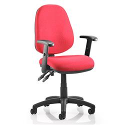 Luna II Lever Task Operator Chair Burgundy Fabric With Height Adjustable Arms Ref KC0130