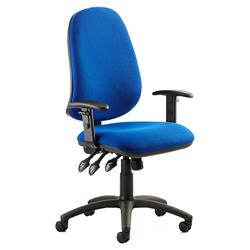 Eclipse XL III Lever Task Operator Chair Blue Fabric With Height Adjustable Arms Ref KC0036