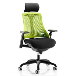 Flex Task Operator Chair Black Frame With Black Fabric Seat Green Back With Arms With Headrest Ref KC0106