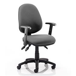 Luna III Lever Task Operator Chair Charcoal Fabric With Height Adjustable Arms Ref KC0143