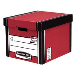 Bankers Box by Fellowes Premium 726 Archive Storage Box Red and White Ref 7260701 [Pack 10]