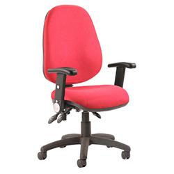 Luna III Lever Task Operator Chair Burgundy Fabric With Height Adjustable And Folding Arms Ref KC0146
