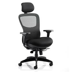 Stealth Ergo Posture Chair Black  Seat And Mesh Back With Arms With Headrest Ref KC0158