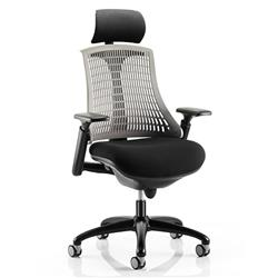Flex Task Operator Chair Black Frame With Black Fabric Seat Grey Back With Arms With Headrest Ref KC0109