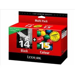 Lexmark 14/15 Inkjet Cartridge Return Programme Black and Colour [Pack 2] Ref 80D2979