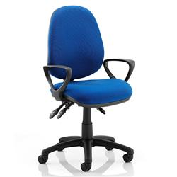 Luna III Lever Task Operator Chair Blue Fabric With Loop Arms Ref KC0137