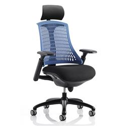 Flex Task Operator Chair Black Frame With Black Fabric Seat Blue Back With Arms With Headrest Ref KC0108