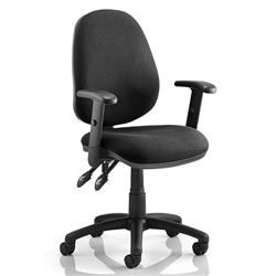 Luna II Lever Task Operator Chair Black Fabric With Height Adjustable Arms Ref KC0128