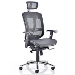 Mirage Executive Chair Black Mesh With Arms With Headrest Ref KC0148