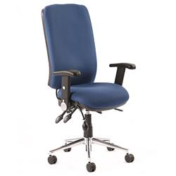 Chiro Task Operators Chair Blue Fabric With Height Adjustable And Folding Arms High Back Ref KC0002