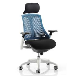 Flex Task Operator Chair White Frame Black Fabric Seat With Blue Back With Arms With Headrest Ref KC0092