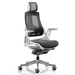 Zure Executive Chair Charcoal Mesh With Arms With Headrest Ref KC0162