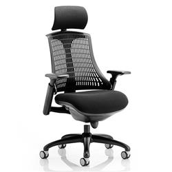 Flex Task Operator Chair Black Frame With Black Fabric Seat Black Back With Arms With Headrest Ref KC0103