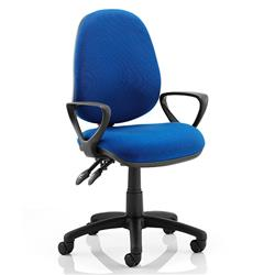 Luna II Lever Task Operator Chair Blue Fabric With Loop Arms Ref KC0125