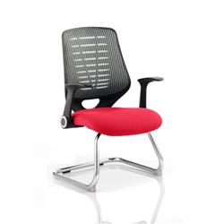 Relay Visitor Chair Cantilever Cherry Colour Silver Back With Arms Ref KCUP0529