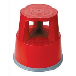 5 Star Facilities Step Stool Mobile Plastic Lightweight Strong Top W290xH430xBaseW400mm Red