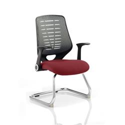 Relay Visitor Chair Cantilever Chilli Colour Silver Back With Arms Ref KCUP0534