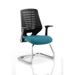 Relay Visitor Chair Cantilever Kingfisher Colour Black Back With Arms Ref KCUP0527