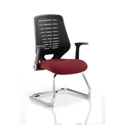 Relay Visitor Chair Cantilever Chilli Colour Black Back With Arms Ref KCUP0526