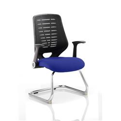 Relay Visitor Chair Cantilever Serene Colour Black Back With Arms Ref KCUP0523