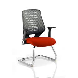 Relay Visitor Chair Cantilever Pimento Colour Silver Back With Arms Ref KCUP0532