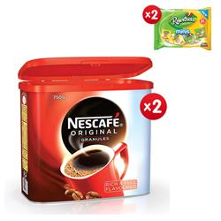 Nescafe Original Instant Coffee Granules Tin 750g Ref 12283921 - x2 & FREE 2 x Rowntrees Minis Sweets 300g