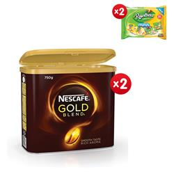 Nescafe Gold Blend Instant Coffee Tin 750g Ref 12284102 - x2 & 2 x FREE Rowntrees Minis Sweets 300g