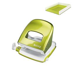 Leitz NeXXt WOW Hole Punch 3mm 30 Sheet Green Ref 50081064L - FREE Leitz WOW Letter Tray