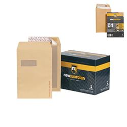 New Guardian Envelopes Heavyweight Board Backed Window Peel and Seal Manilla C4 [Pack 125] - FREE C4 Gusset Envelopes