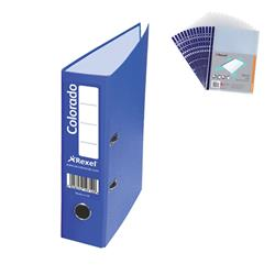 Rexel Colorado Lever Arch File Plastic 80mm Spine A4 Blue Ref 28143EAST [Pack 10] - FREE A4 Punched Pockets