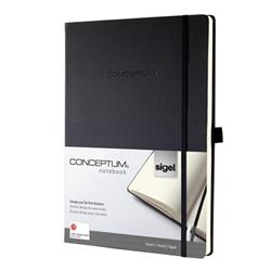 Sigel Conceptum Notebook Padded Cover Ruled 194pp 80gsm A4 Black Ref CO112 - 2 for 1