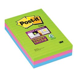 Post-It Super Sticky Removable Notes Pad 90 Sheets 102x152mm Ultra Assorted Ref 660-3SSUC - Pack 3 - 3 for 2