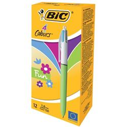 Bic 4-Colour Fashion Ball Pen Pink Purple Turquoise Lime Green Ref 887777 - Pack12 - 2 for 1