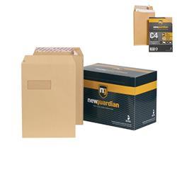 New Guardian Envelopes Heavyweight Pocket Peel and Seal Window Manilla C4 - Pack 250 - FREE C4 Gusset Envelopes