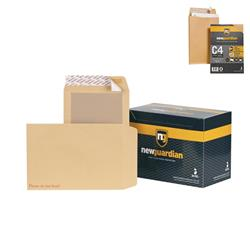New Guardian Envelopes Heavyweight Board Backed Peel and Seal Manilla C4 [Pack 125] - FREE C4 Gusset Envelopes