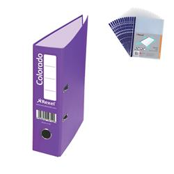 Rexel Colorado Lever Arch File Plastic 80mm Spine A4 Purple Ref 28847EAST [Pack 10] - FREE A4 Punched Pockets