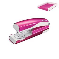 Leitz NeXXt WOW Stapler 3mm 30 Sheet Pink Ref 55021023L - FREE Leitz WOW Letter Tray