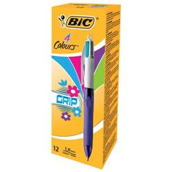 Bic 4-Colour Grip Pro Ball Pen 1.0mm Tip 0.7mm Line Pink Purple Green and Blue Ref 892290 - Pack 12 - 2 for 1