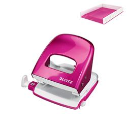 Leitz NeXXt WOW Hole Punch 3mm 30 Sheet Pink Ref 50081023L - FREE Leitz WOW Letter Tray