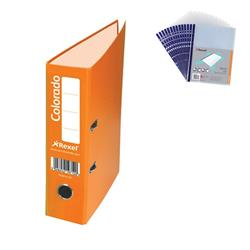 Rexel Colorado Lever Arch File Plastic 80mm Spine A4 Orange Ref 28146EAST [Pack 10] - FREE A4 Punched Pockets
