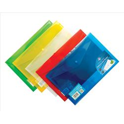 Concord Stud Wallet File Translucent Polypropylene Foolscap Assorted Ref 7095-PFL [Pack 5] - 3 for 2