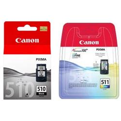Canon PG-510/CL-511 Inkjet Cartridge Page Life 220 Black 224 Colour Ref 2970B010 [Pack 2]
