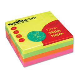Euroffice Repositionable Sticky Notes 76x76mm 320 Sheets per Cube Neon Rainbow [Pack 1]