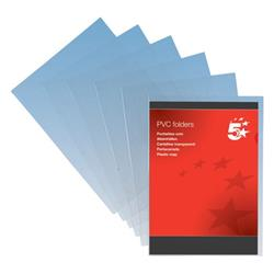 5 Star Elite Folder PVC Cut Flush 150 Micron A4 Clear [Pack 50]