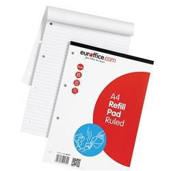 Feint ruled refill pads in a headbound format with a durable cloth binding. With 80 sheets or 160 double sided pages. 60gsm white paper. Four-hole punched. Backboard provides additional rigidity and support. Size: A4 297x210mm. Packed 10.